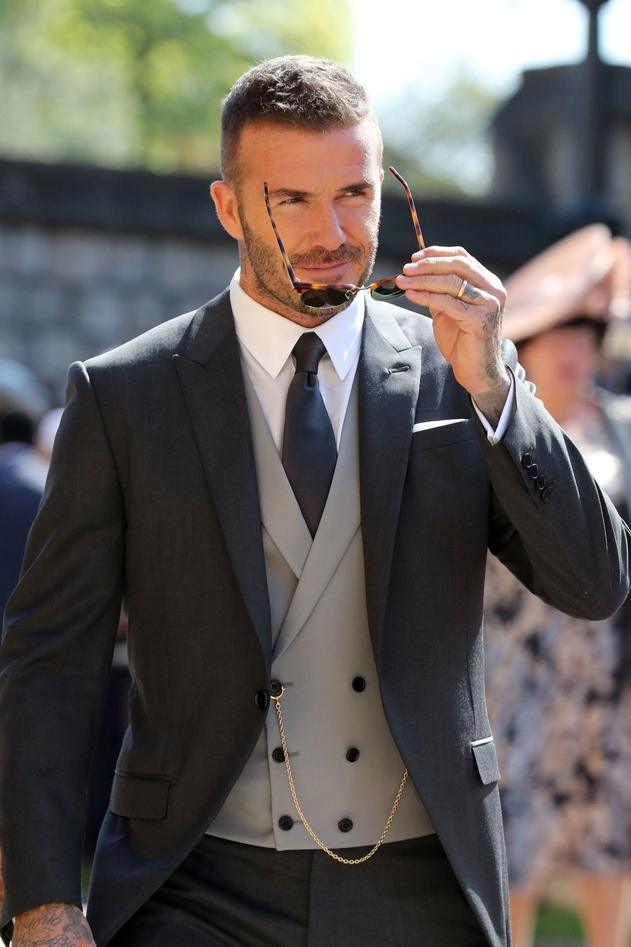 See The Best Dressed Guests At The Royal Wedding Wedding Suits Men Wedding Suits Groom David Beckham