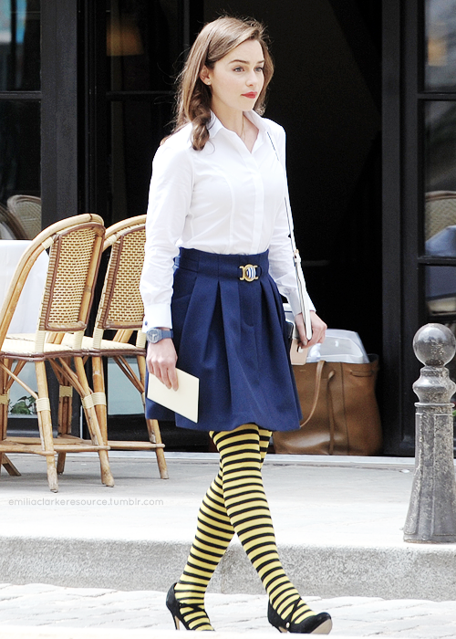 Emilia Clarke filming her final scene as Lou Clark for Me Before You in Paris, France; June 20th, 2015