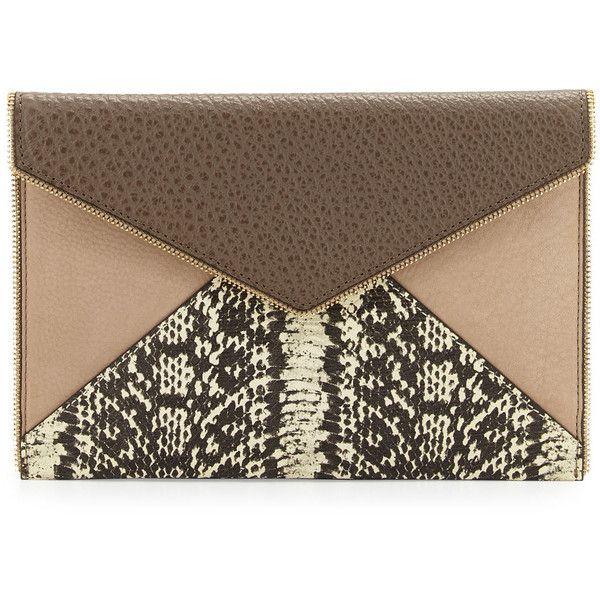 Rebecca Minkoff Leo Clutch (Taupe Multi) Clutch Handbags V57zW