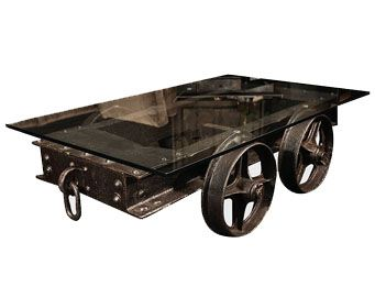 Table Created From Reclaimed Mine Railroad Industrial Design Furniture Cart Coffee Table Eco Furniture