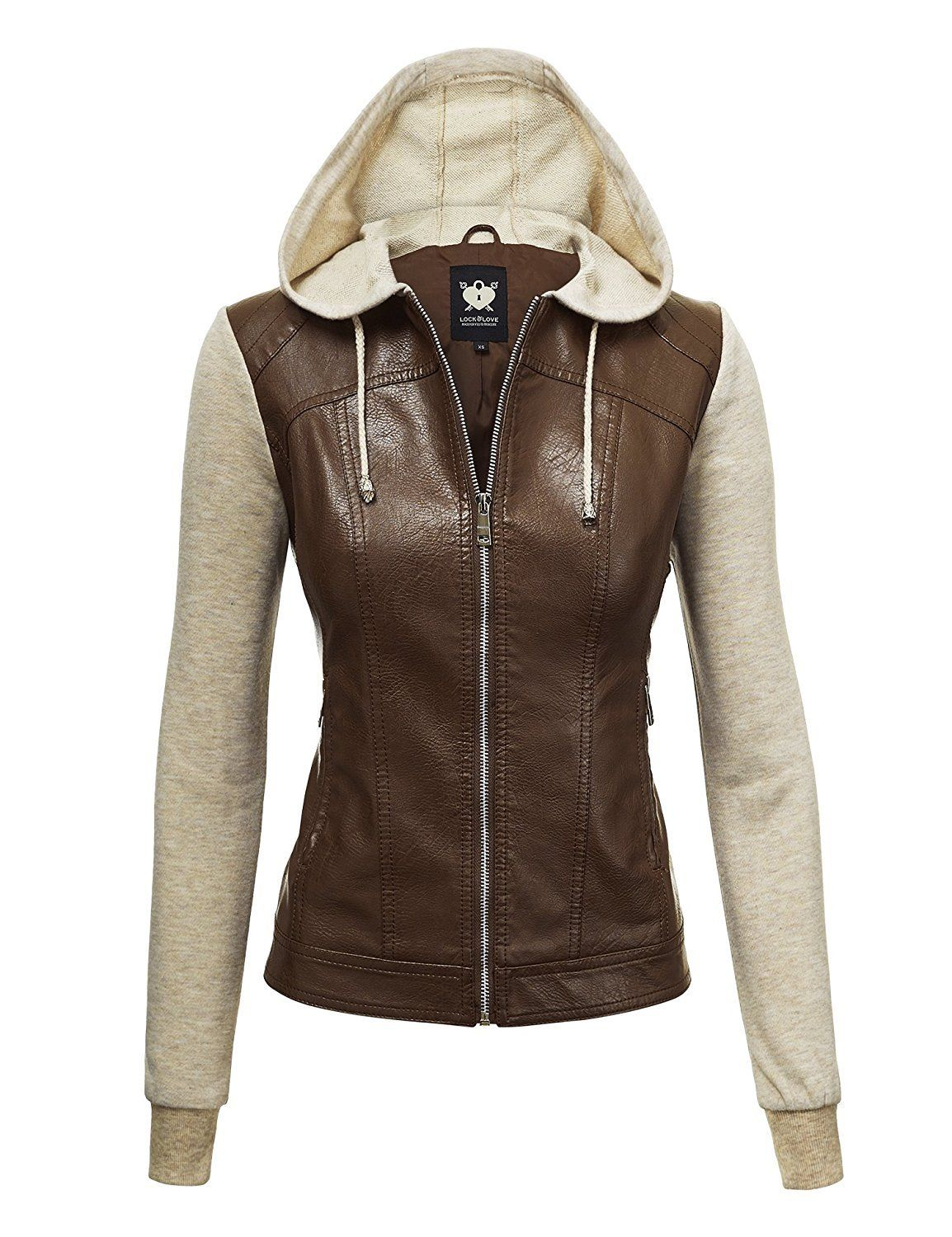 LL Womens Hooded Faux leather Jacket Leather jacket