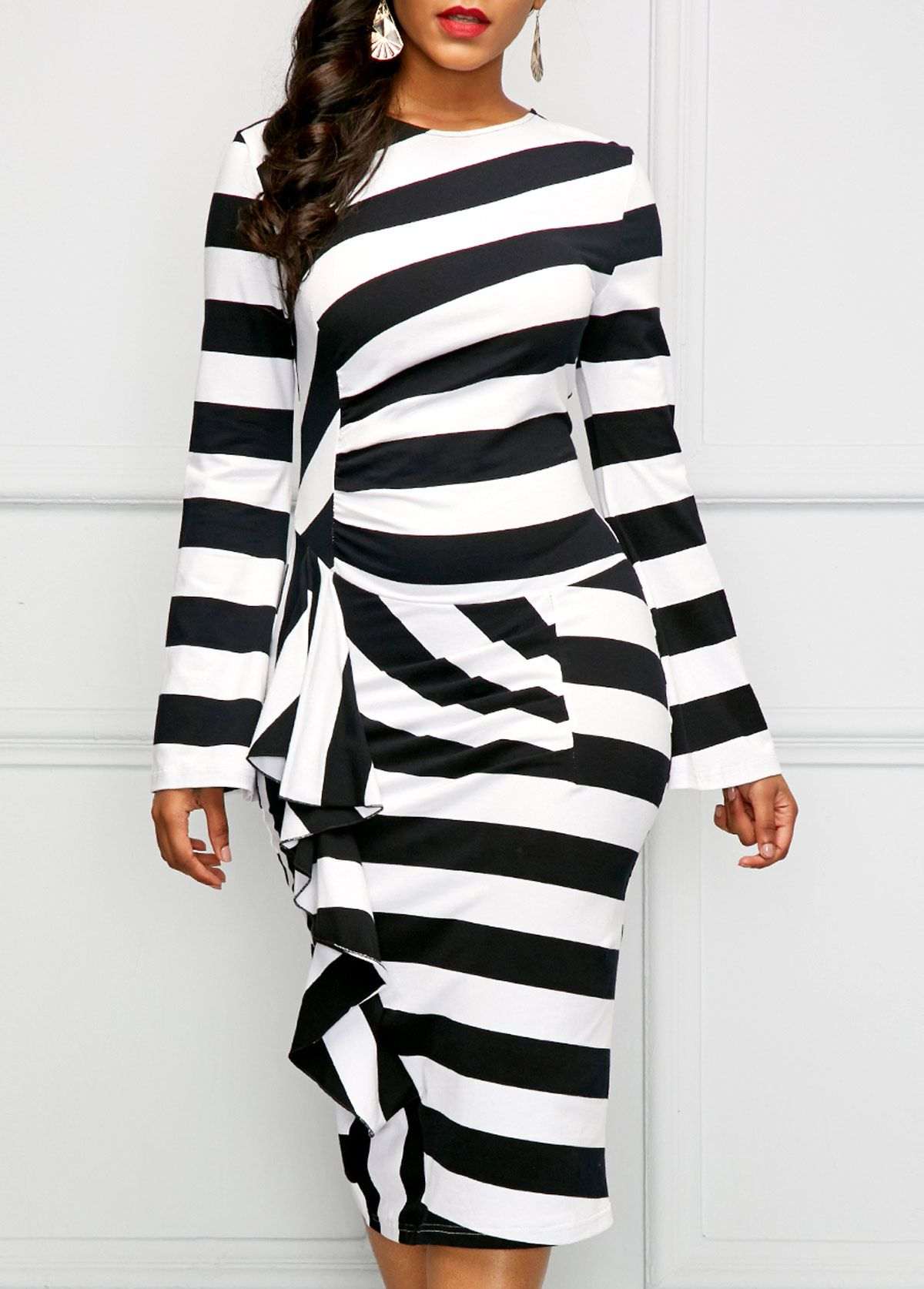 Back slit striped long sleeve dress sleeved dress ruffle dress
