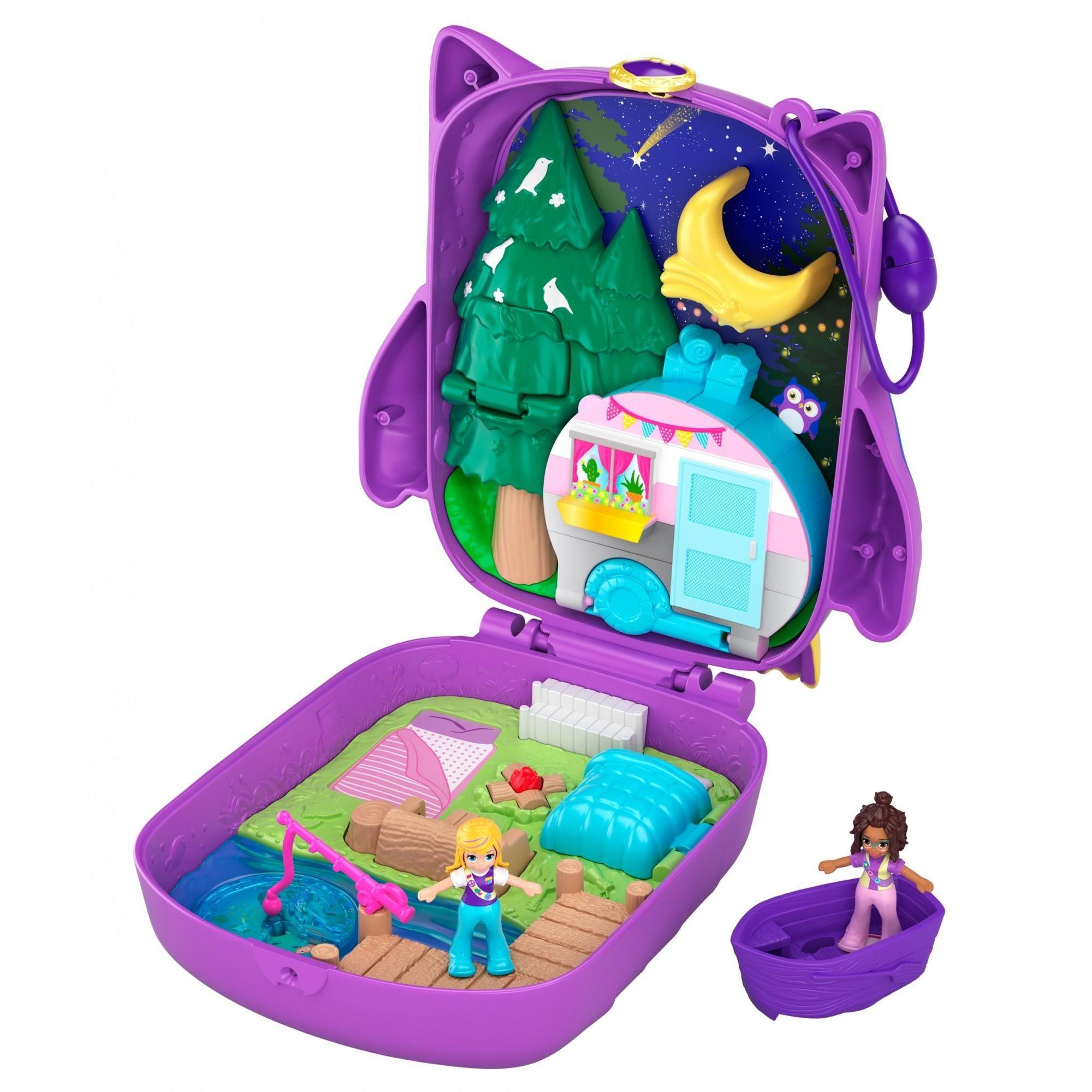 Polly Pocket Pocket World Owlnite Campsite Compact 2 Micro Dolls Accessories Walmart Com Polly Pocket Polly Pocket Dolls Playset