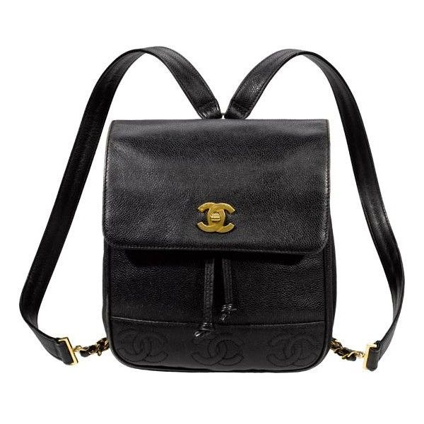 Chanel Vintage Leather Backpack (€220) ❤ liked on Polyvore featuring bags, backpacks, accessories, black, handbags, draw string bag, kate spade backpack, chain bag, day pack backpack and backpacks bags