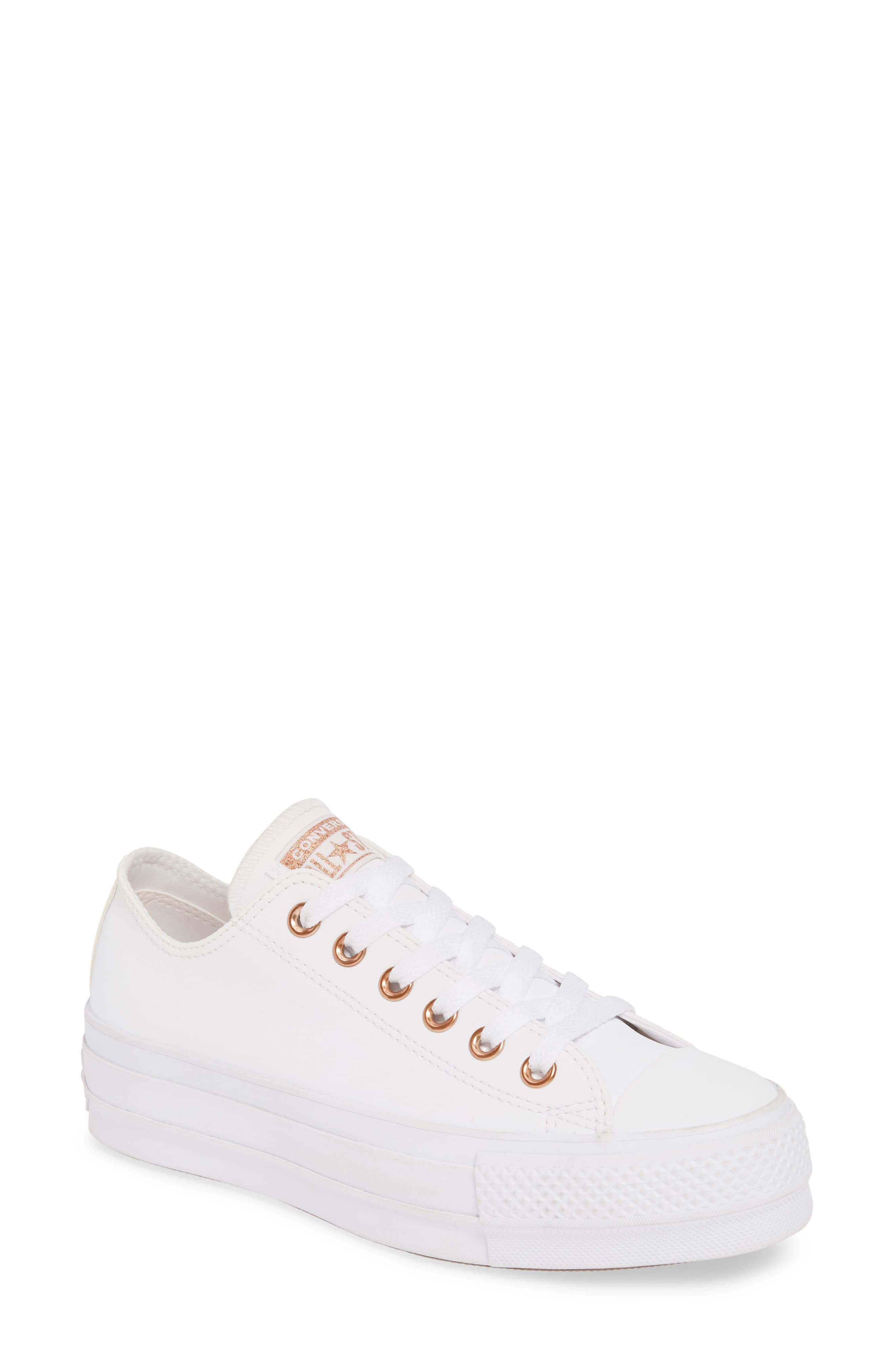 womens white and rose gold converse
