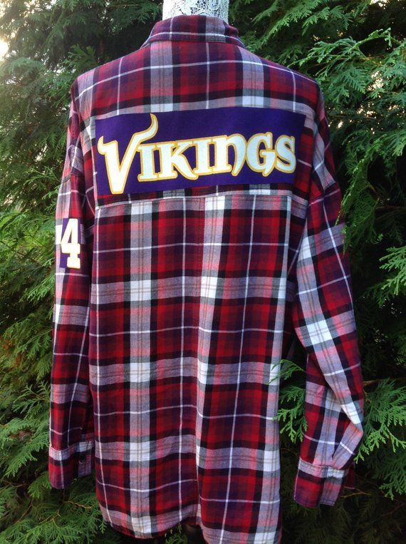 e65d9571 Minnesota Vikings Custom upcycled light weight flannel shirt tee ...
