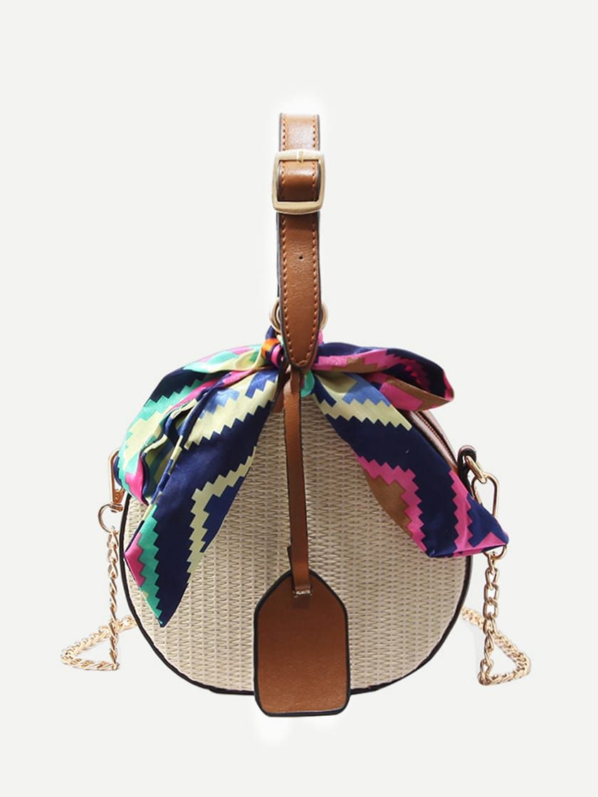 80711ae324 Twilly Scarf Woven Detail Bag -SheIn(Sheinside) | bags | Round straw ...
