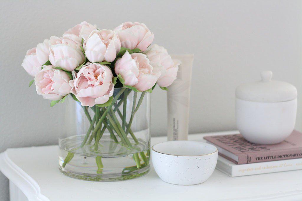Diy Faux Peony Arrangement With Acrylic Water Fake Flower Arrangements Flower Arrangements Diy Peony Arrangement