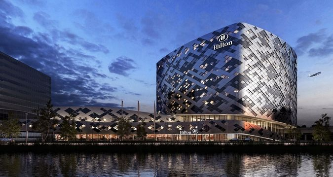 New Hilton Amsterdam Airport Schiphol Hotel, Netherlands - Hotel Exterior by Night