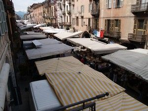 Tuesday Market at Piazza Galimberti. Cuneo, Piedmont, Italy