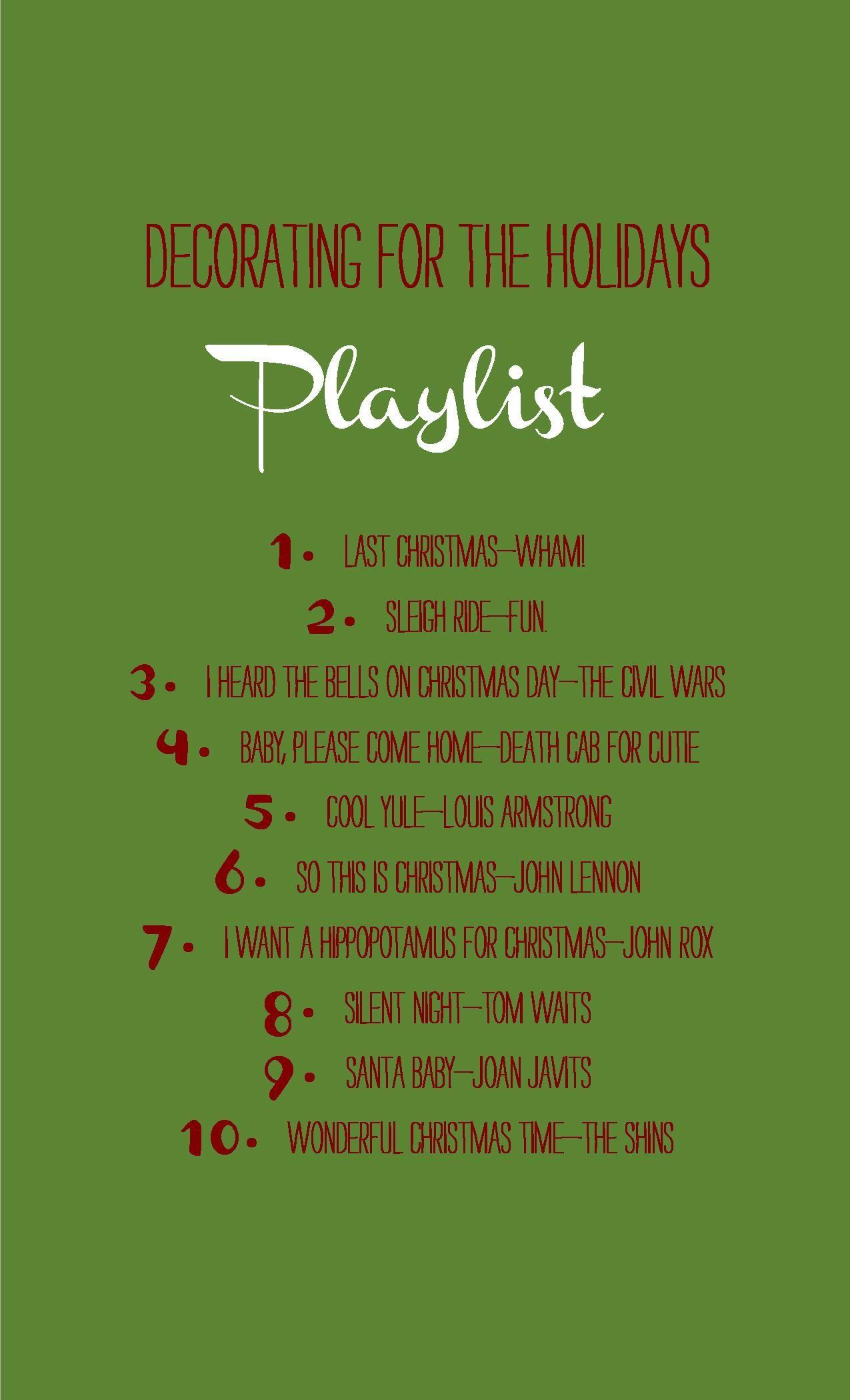 Holiday playlist via This Is The Life. Christmas