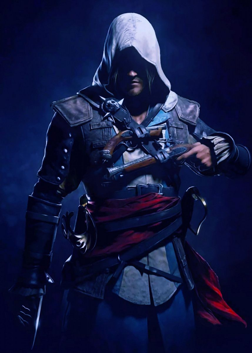 Assasincreed Blue Poster By Gameco Displate Assassins Creed Black Flag Assassin S Creed Black Assassin S Creed Wallpaper