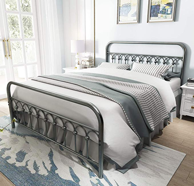 AmazonSmile Vintage Sturdy Queen Size Metal Bed Frame
