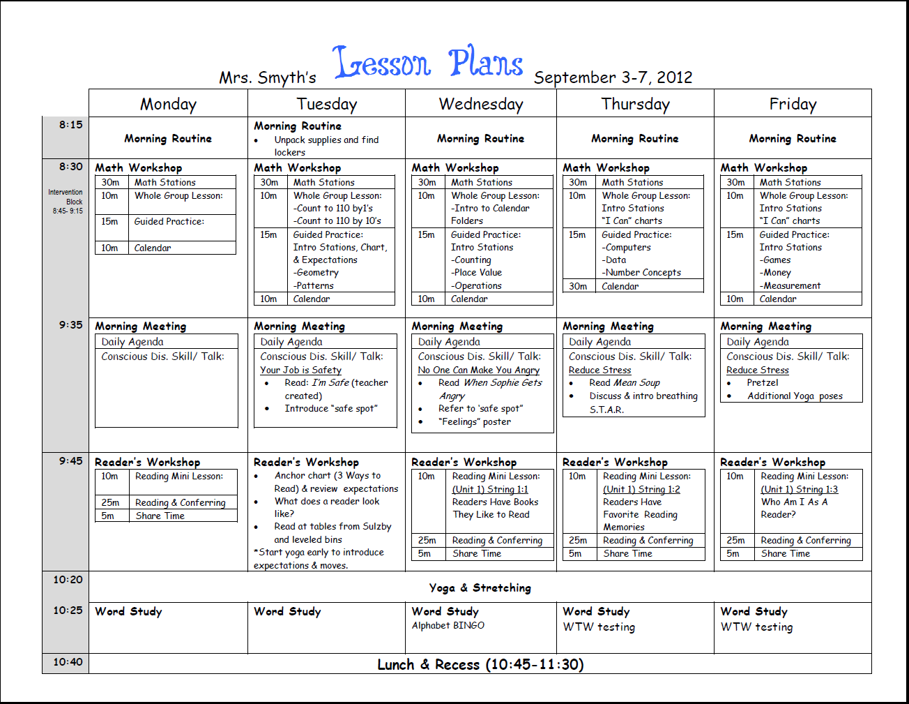 First Week Lesson Plans First Grade Beginning Of Year - Free kindergarten lesson plan template