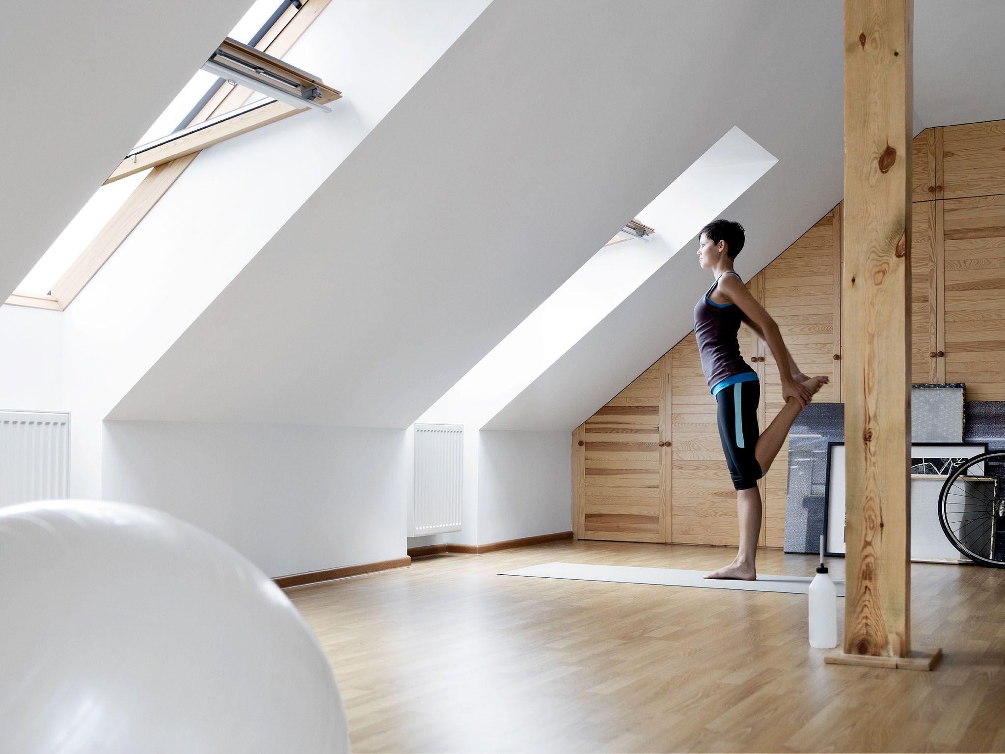 mal etwas anderes ein fitnessraum unter dem dach styling ideen f r das zuhause pinterest. Black Bedroom Furniture Sets. Home Design Ideas