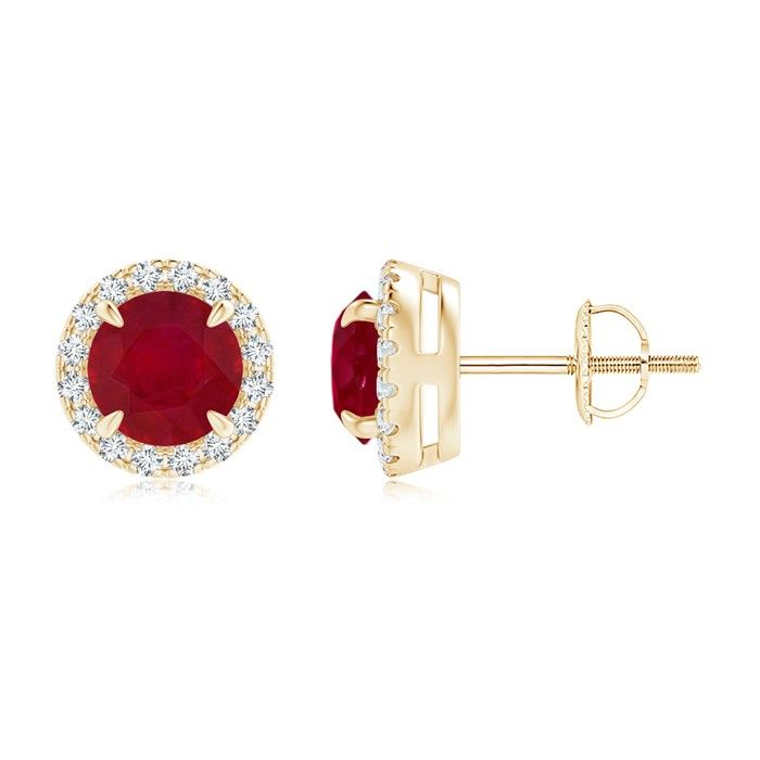 Angara Oval Ruby and Diamond Halo Stud Earrings in Rose Gold J21Lz