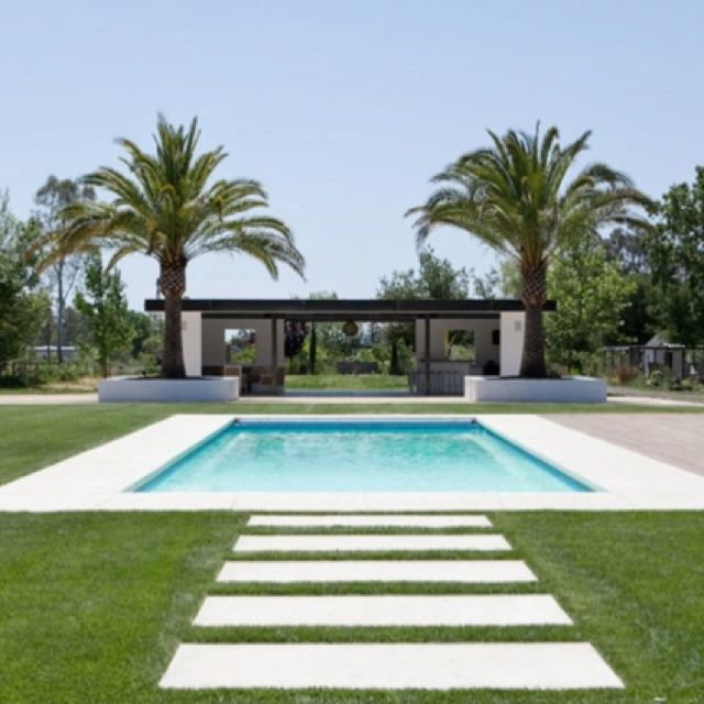 Modern sonoma farmhouse landscape design by regina rollin for Simple houses design with swimming pool