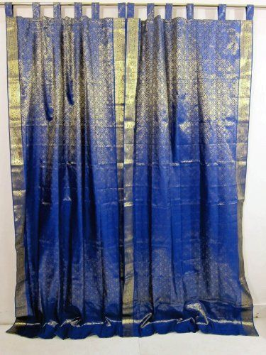 Sari Curtains India 2 Royal Blue Gold Brocade Silk Saree Drapes Panels 97
