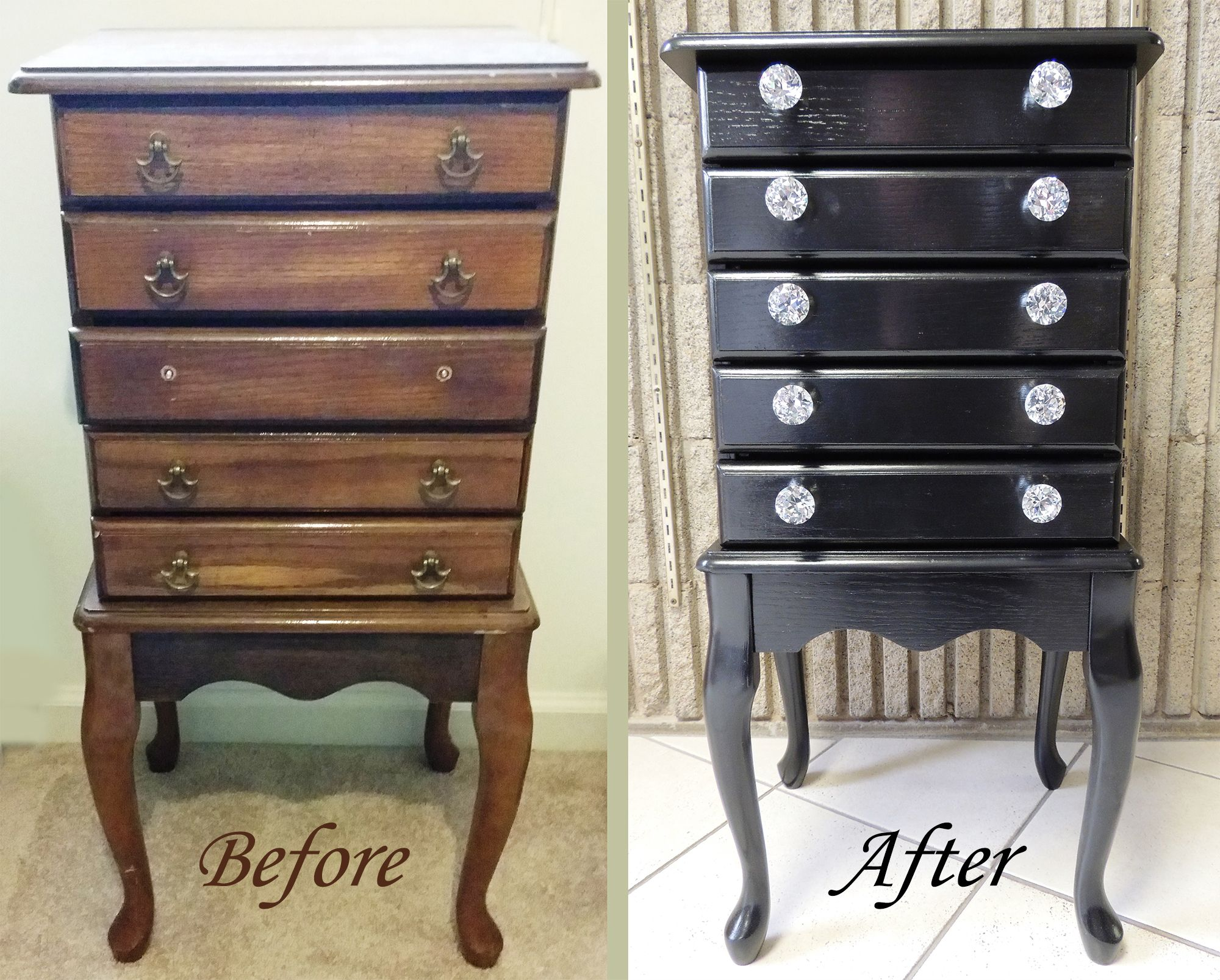 Upcycled Jewelry Armoire. Added General Finishes Black Gel ...