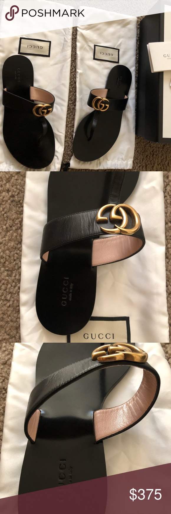 c5118958bf3 Gucci Leather Sandals Leather thong sandal with Double G Women size ...