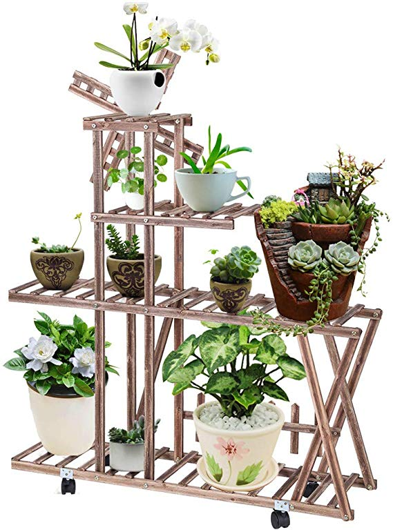 Amazon Com Hstore Plant Stand 6 Tier Rolling Wheels Rack Potted Ladder Plant Stand Rack Multiple Flower In 2020 Indoor Outdoor Planter Flower Pot Holder Plant Stand
