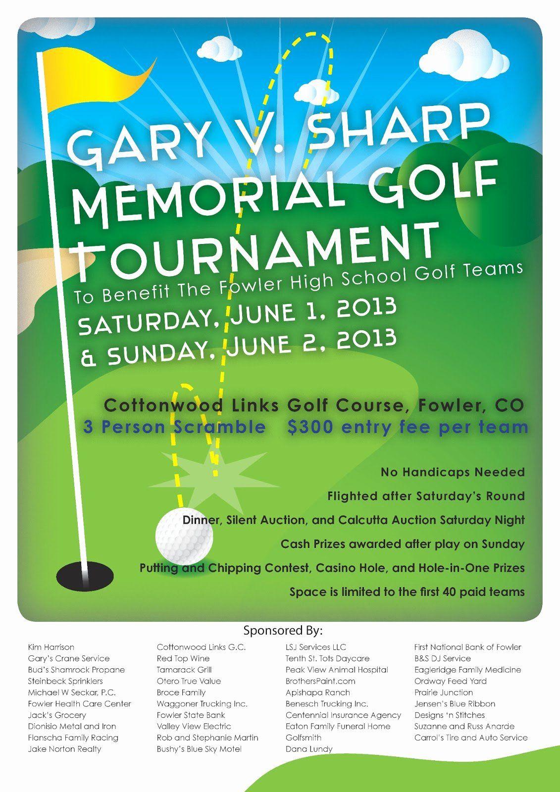 Golf Scramble Flyer Template Fresh Gary V Sharp Memorial Golf Tournament Tournament Flyer Flyers Template Golf Tournament Flyer Template
