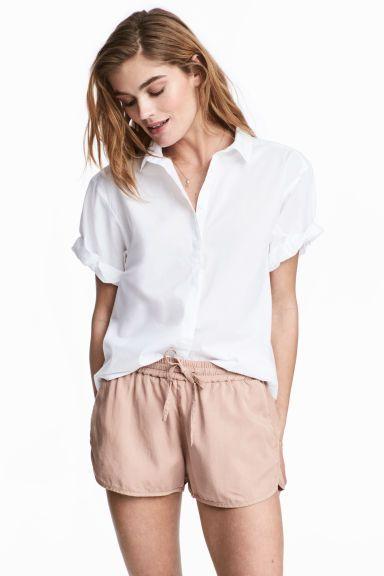 Camisa de algodón manga corta - Blanco - MUJER  e1ce59a4690