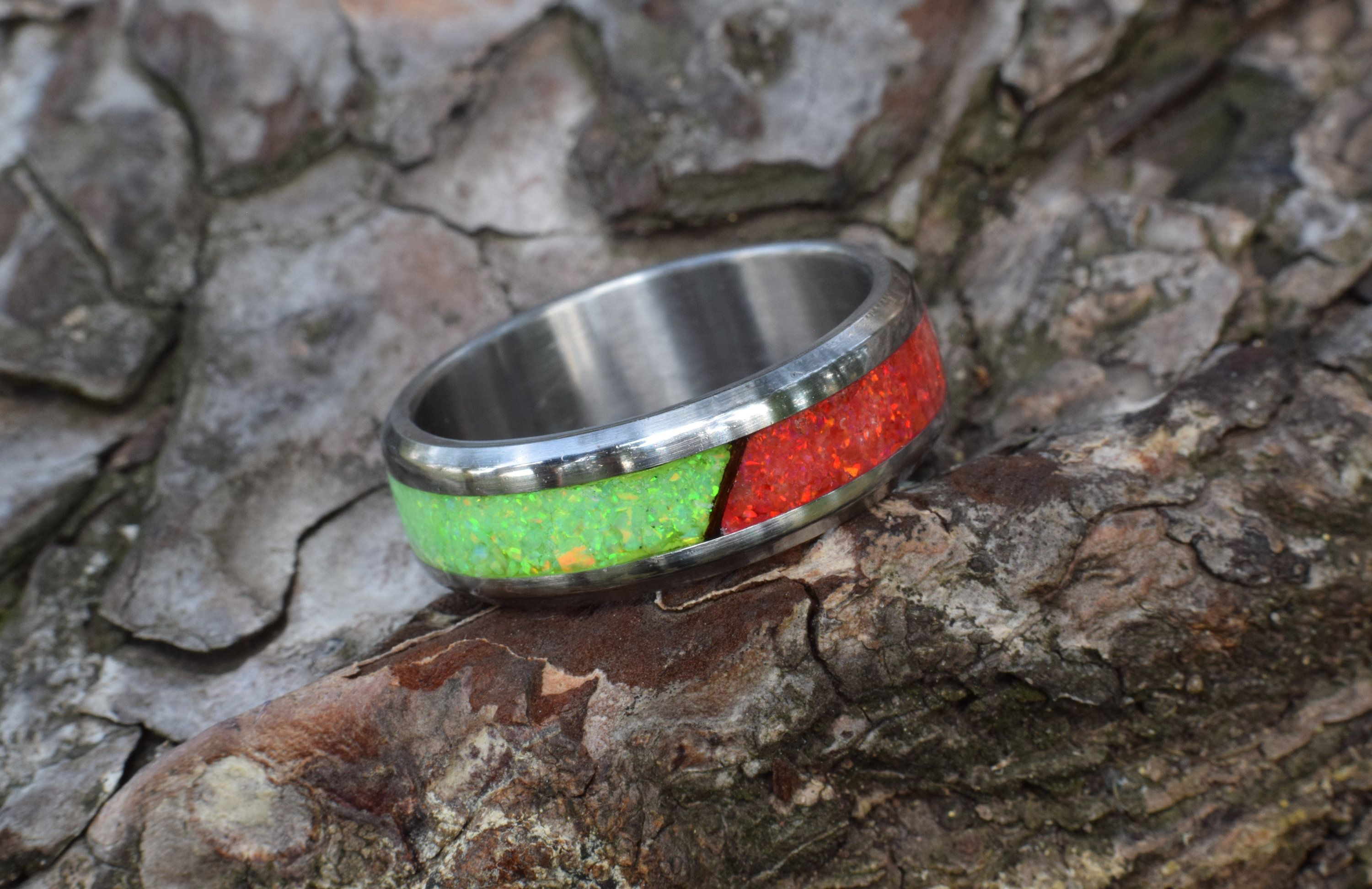 Wedding Ring, Stainless Steel Ring with Crushed Ruby and