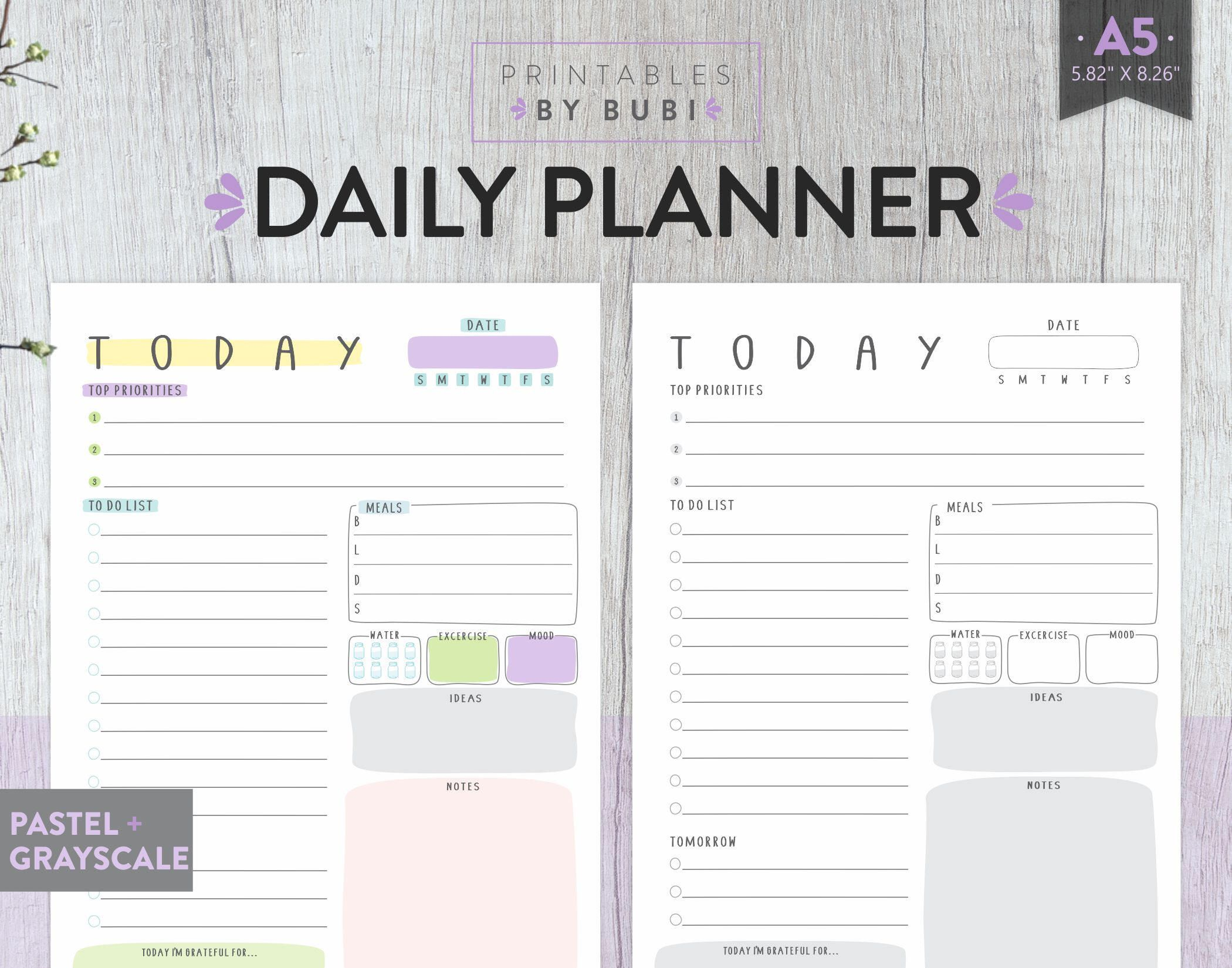 A5 Planner Inserts Daily Planner Printable A5 Filofax A5 Etsy Planner Inserts Printable Daily Planner Printable Daily Planner