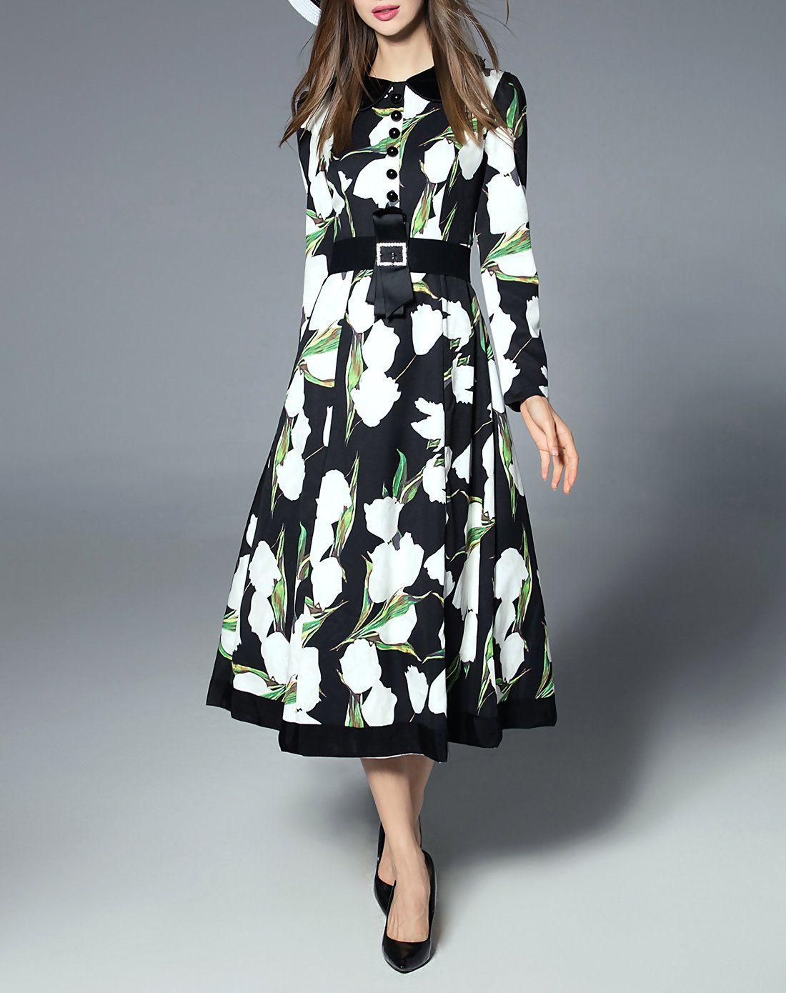#AdoreWe #VIPme Shirt Dresses - LANJIAN Floral Print Collared Flare Midi Dress - AdoreWe.com
