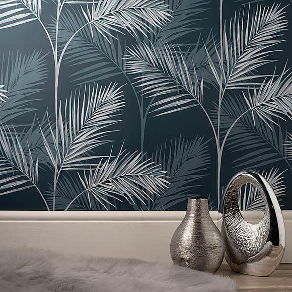 South Beach Navy Wallpaper Navy Wallpaper Palm Leaf Wallpaper Leaf Wallpaper