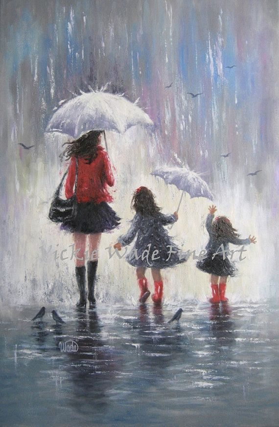 Mom and Two Daughters Original Painting 24X36 rain girls mother daughters paintings wall art two sisters umbrellas, Vickie Wade art