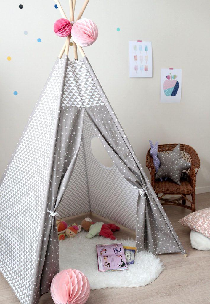 Tipi Pour Enfant Gris Taupe Tipi Enfant Chambre Bebe Bois