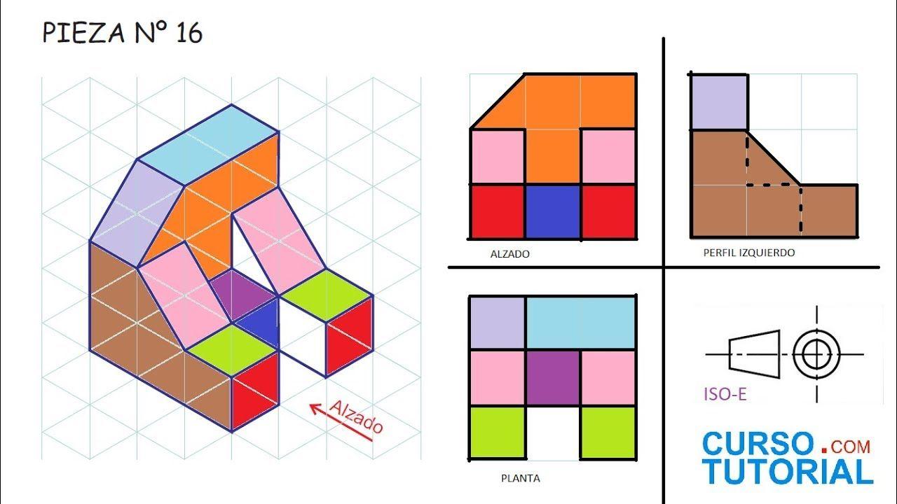 Alzado Planta Y Perfil De Una Pieza E16 Ejercicios De Vistas De Dibujo Tecnicas De Dibujo Vistas Dibujo Tecnico Ejercicios De Dibujo