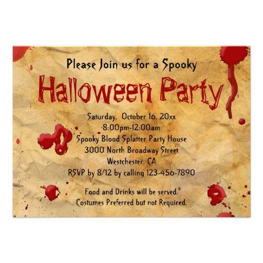 Parchment Blood Splatter Halloween Invitations