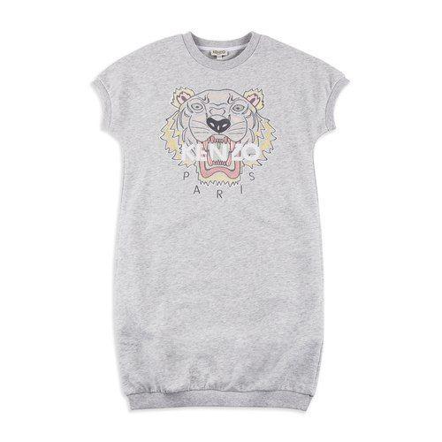 fd5625cc KENZO KIDS Girls Tiger Sweatshirt Dress - Grey Girls short sleeve dress •  Cotton jersey blend • Round neckline • Ribbed collar, cuffs and hem •  Icnoic tiger ...
