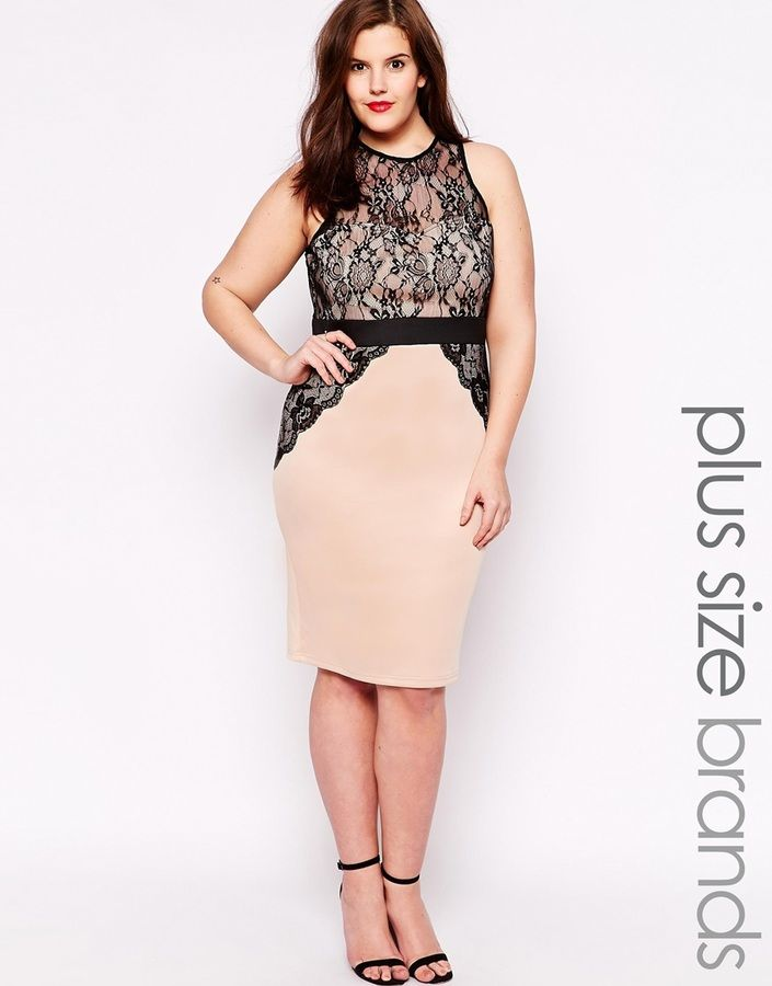 Ax Paris Plus Size Bodycon Dress With Lace Overlay Plus Size