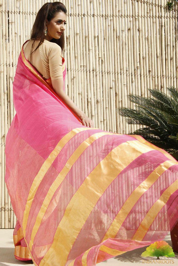A light and cheerful pink and yellow cotton silk maheshwari saree