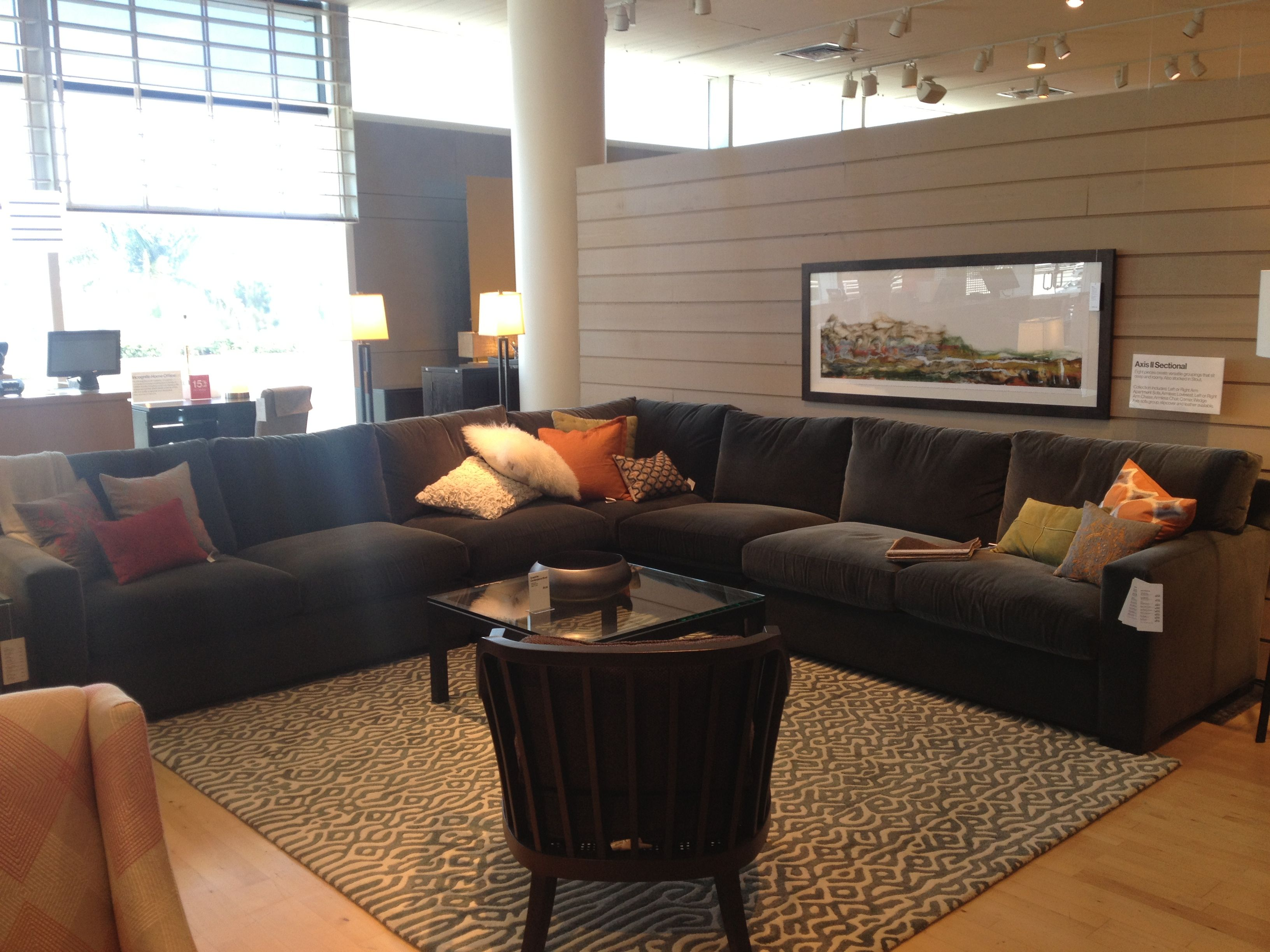 Crate barrel sectional axis ii color charcoal 2700 3000