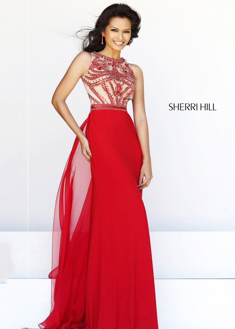 2014 Sherri Hill 11069 Beaded Red Long Evening Gown - $186.00 : 2014 ...