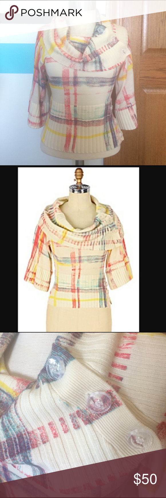 Moth Anthropologie Plaid Rainbow Cowl Neck Sweater Anthropologie ...