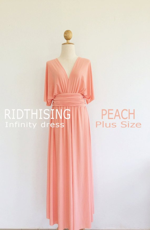 4f6b7761d07 Plus Size Peach Bridesmaid Dress Maxi infinity Dress Prom Dress Convertible  Dress Wrap Dress