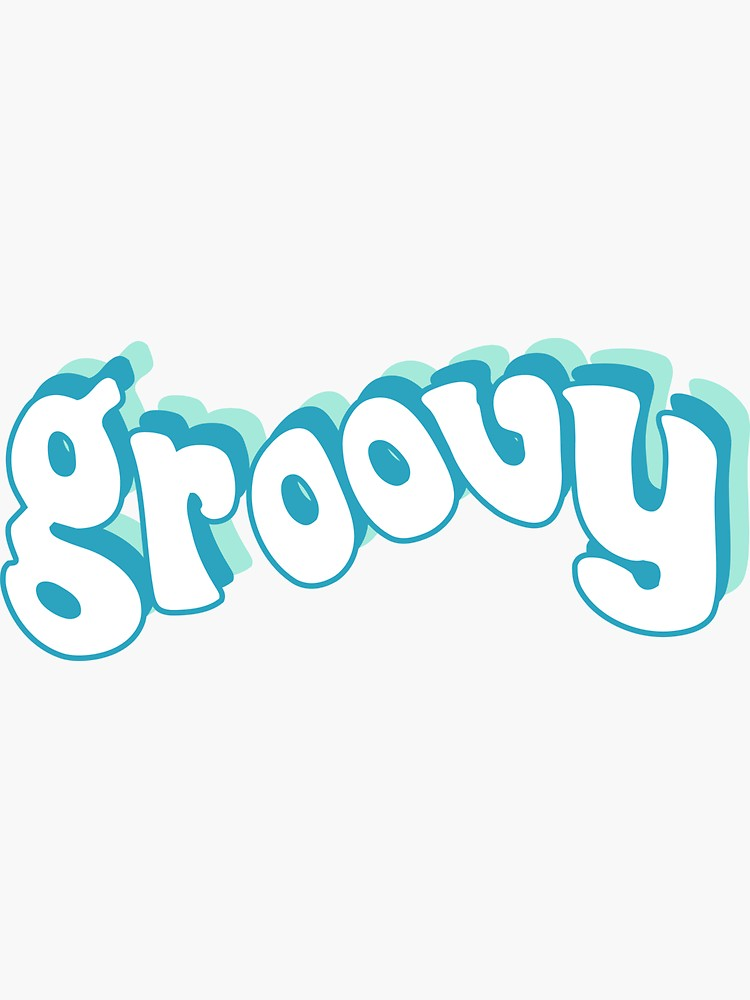 'Groovy Retro Blue and Teal 70s' Sticker by social-dilemma