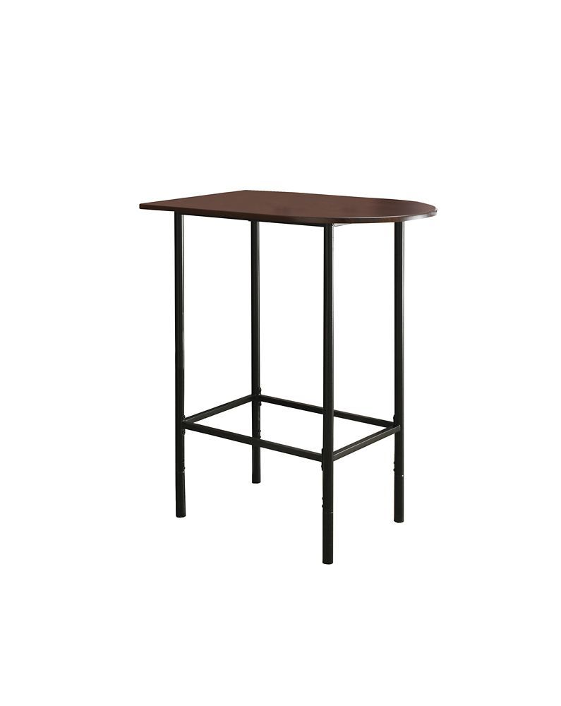 Enhance the trendy contemporary look of your casual dining area with this space saver bar that features sleek black tube legs and a cappuccino top. This moon shaped piece can be placed up against a wall to save space in smaller homes like an apartment or dorm room. Thishome bar unit will quickly become the most popular gathering spot in your home! Chairs not included.