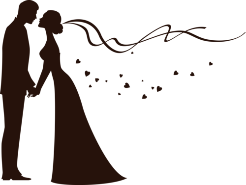 Bride And Groom Silhouette Another Option To Draw On The Chalkboard