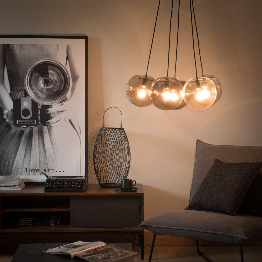 f6814de5fc89 Smoked Glass 5-Ball Pendant | lighting | Ball lights, Ceiling Lights ...