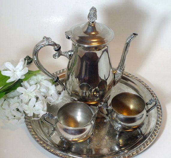 Leonard Silver Plate Tea Set 4 Pieces Floral by DinneratSeven & Leonard Silver Plate Tea Set - 4 Pieces - Floral Cast Repousse ...