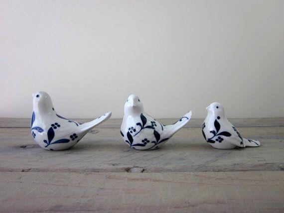 Vintage Blue And White Porcelain Bird Figurines Set By 22bayroad 28 00