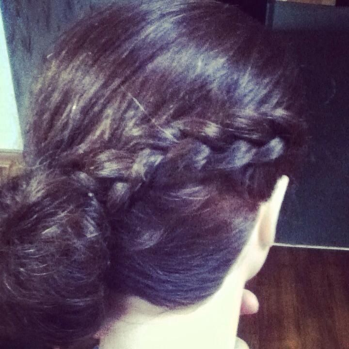 Braided bow and bun updo
