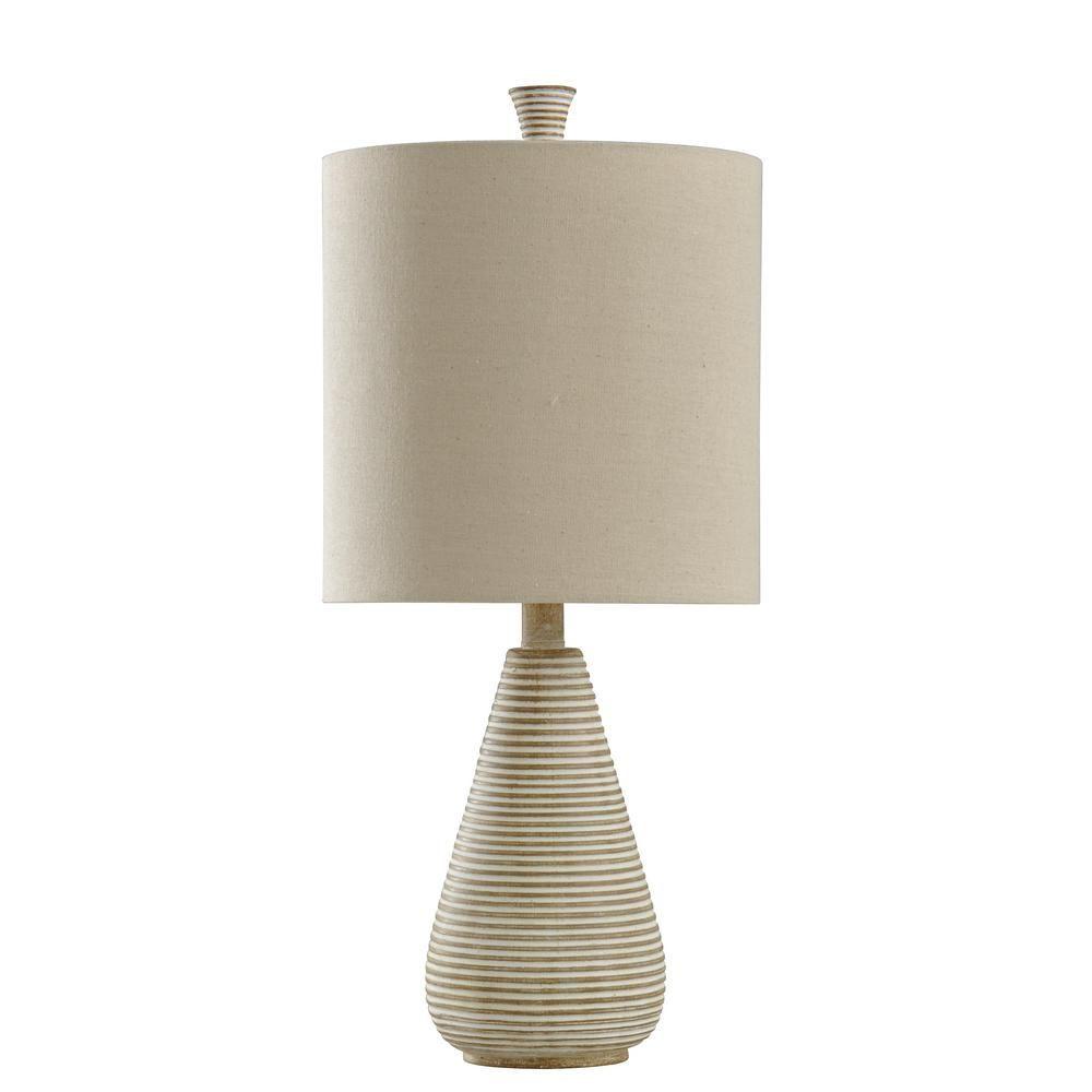 Stylecraft 24 In Beige Table Lamp With Cream Hardback Fabric